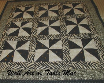 WILD HEARTS,  Mini Quilt, Wall Art, Table Mat,  Black and Neutrals,  Home Décor, Animal Prints, Gift for Men, Christmas,  Birthday, Man Cave