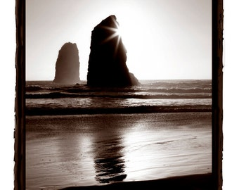The Needles at Cannon Beach Oregon by Haystack Rock Black and White -Metallic