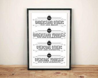 Lao Tze Taoism life quote print: 'If you understand others you are smart.'… typographic poster