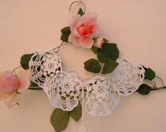 Crochet lace collar-white cotton collar-vintage Look-retro chic Victorian collar-romantic women's fashion crochet