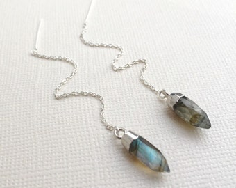 Labradorite Threader Earrings ~ Sterling Silver Chain Threader Crystal Point Earrings