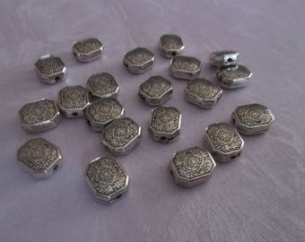 2 small rectangle acrylic beads silver 10 x 9 mm