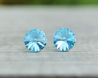 Aquamarine Swarovski Crystal Stud Earrings, March Birthstone Earrings, Bridesmaids Gift, Something Blue, 6mm or 8mm Rivoli Earrings