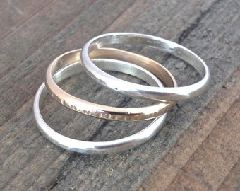 Stackable Rings for Women, Sterling Silver and Gold-Filled Rings, Textured, Eco-Friendly