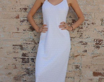 Vintage White Stretch Lace Maxi Dress