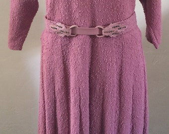 Vintage Handmade 1940's Belted Knit Dress Dusty Rose  Bat Sleeves.