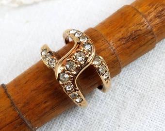 Rose Gold Tone Rhinestone Double Band Ring Size 8 Signed Roman
