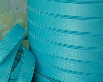 3yds Elastic Satin Aqua Blue 1/2 inch wide Shiny Stretch Bands Straps bra elastic lingerie