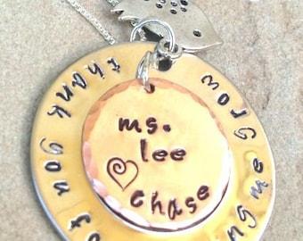 teacher gift, teacher appreciation, thank you for helping me grow, teacher from child, teacher necklace, teacher thank you gift
