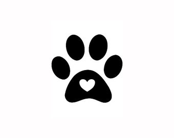 Paw Print Stamp, mini rubber stamp, dog paw stamp, cat paw stamp, paw print with love heart, pet owner gift, love pets, paw stamp, (minis12)
