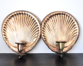 Vintage Brass Shell Wall Sconces, Taper Holders, Candle Holders