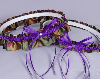 Wedding Garter Set in Purple and Camo Print Satin with Swarovski Crystals