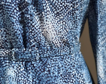 Vintage 1970's Blue Abstract Print Dress