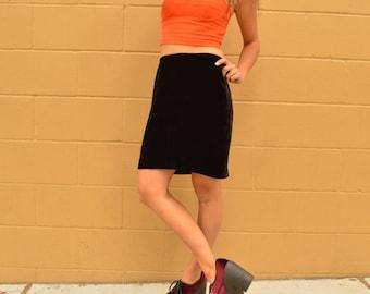 Vintage 80s Soft Black Velvet Mini Skirt Medium Knee Length