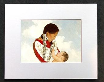 Native American Breastfeeding Watercolor Drawing