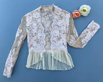 Antique Lace Ivory/Beige Mesh Edwardian Style Bolero Size X-Small