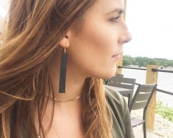 Leather Earrings Joanna Gaines Inspired Earrings Leather Rectangle Earrings Leather Dangle Earrings Suede Earrings