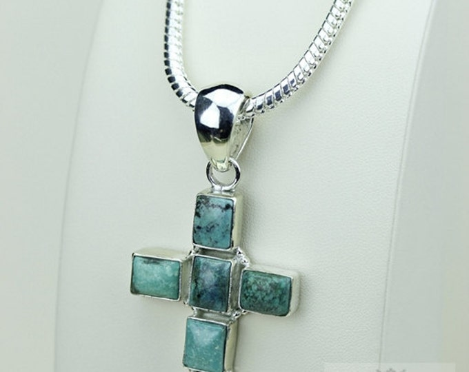 2.83 Inhes Rectangle Cut TIBETAN TURQUOISE Cross 925 S0LID Sterling Silver Pendant + 4MM Snake Chain & Free Worldwide Shipping P3403