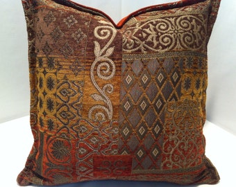 16 inch Decorative Chenille Throw Pillow Cover in Burnt Orange Gold Brown with invisible zipper