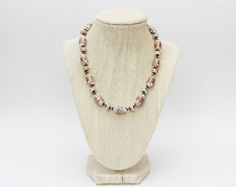 30s Italian Wedding Cake Beads - Vintage 1930s Lampwork Bead Necklace - Beaded Necklace