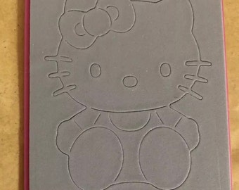 Sizzix hello kitty sitting w/ bow rare die cut paper and vellum card making scrapbooking diy craft projects