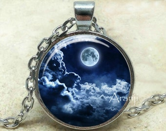 Blue moon art pendant, full moon pendant, moon pendant, moon necklace, moon and clouds necklace, moon jewelry, Pendant #SP102P