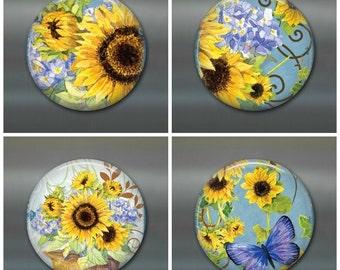 """sunflower magnet set - sunflower fridge magnet - sunflower decor, housewarming gift for her - 3.5"""" fridge magnet"""