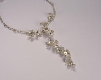 A Beautiful Silver Fuchsia cascade necklace