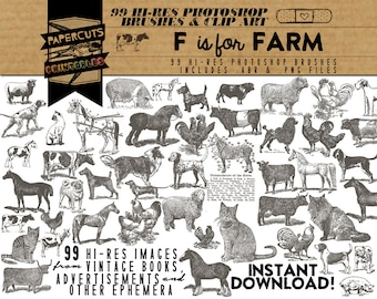 F is for Farm- 99 Hi-Res Photoshop Brushes / Clip Art / Image Pack - Includes .ABR and .PNG Files