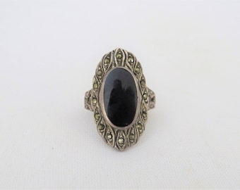 Vintage Sterling Silver Black Onyx & Marcasite Long Ring Size 6.5