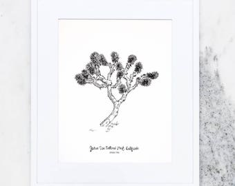 Joshua Tree Art Print, Art Prints, Travel Art Prints, National Parks, California, Joshua Tree National Park, Hand Illustrated, Made In USA