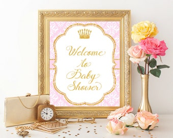 Pink & Gold Welcome sign, Princess Baby Shower, Printable Welcome sign, Printable Sign, Welcome to baby shower, Baby shower decor, Pr-G