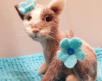 Handmade needle felted wool cat