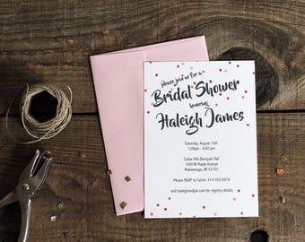 pink polka dots bridal shower invitations - 10 bridal shower invites bachelorette wedding
