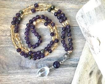 Buddhist Mala Meditation Beads Necklace. Citrine and Amethyst Japa Mala Beads. Amethyst Yoga Jewelry. Japa Mala Prayer Beads. Boho Necklace