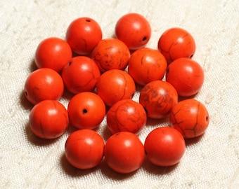 10pc - synthetic Turquoise beads balls 12mm Orange No. 5 4558550008268