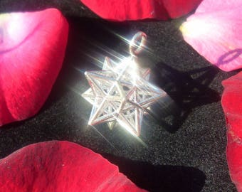Solar Spirit Star *3D Sacred Geometry Silver Jewelry *stellated Dodecahedron *12 Pentagram Pendant *Phi Harmony *Golden mean ratio Mandala