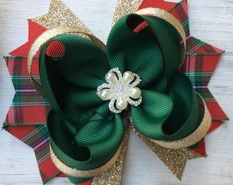 Christmas hair bow, Red Green Gold hair bow, Holiday hair bow, Red hair bow, red hair bow, Christmas hair bow, girls holiday hair bow, bow