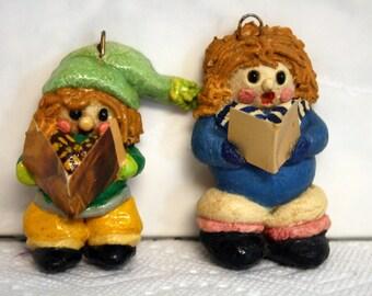 Two Carolers Salt Dough Ornaments