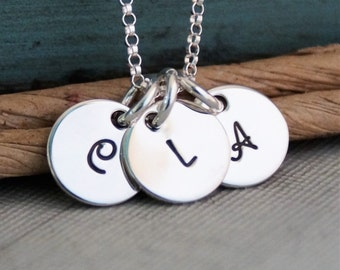 Teeny Initial Tags Necklace / Hand Stamped Mommy Necklace / Personalized Sterling Silver Jewelry / Teeny Trio Tags