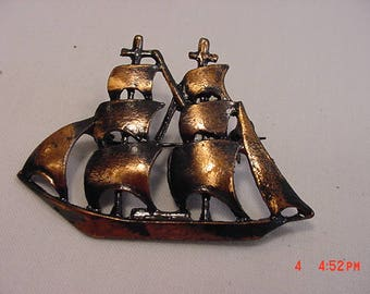 Vintage Coppercraft Guild Copper Gems Tall Ship Brooch  17 - 757