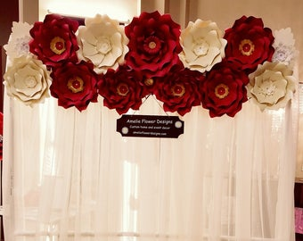 Large red and gold paper flowers backdrop. Giant ivory and red paper flowers wall.  Babyshower red backdrop. Wedding ivory flowers backdrop.