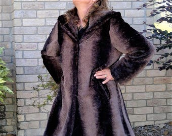 NEW PRICE - Vintage 1990's Quilted Lining Heavy Faux Fur Hooded Coat - Spendid Beauty