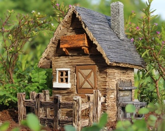 "Fairy Garden Shed w/detached Fence & Hinged Door 3-Piece Set 7.5"" Tall for the Fairy Garden"
