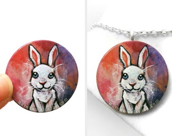 White Rabbit Necklace, Pet Portrait, Hand Painted Wood Art Jewelry, Animal Painting, Bunny Pendant, Pet Keepsake Memorial Gift for Her