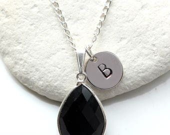 Black Onyx Necklace -  Black Onyx -  Initial Necklace - Black Onyx Pendant - Black Onyx  Silver Necklace - Black Onyx Teardrop  - A36