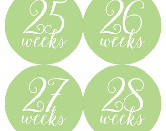 INSTANT DOWNLOAD - Printable Weekly Pea Green Calligraphy Pregnancy BUMP Stickers - Every weeks and Bonus Set - Photo Prop