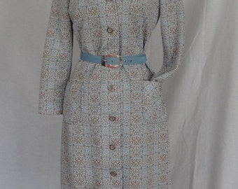 SALE!!! 1960s 70s Dress / Blue & Tan MOD Geometric Print Scooter Daydress w Belt / Lady Carol