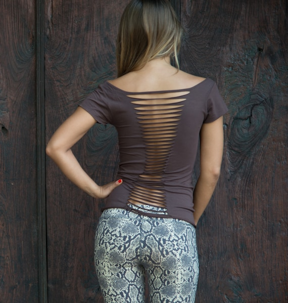 Cut Back Top Wide Neck Top Brown Yoga Top Soft High