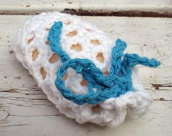 Soap Sock Bag Sack White Cotton Crocheted Exfoliating Bath
